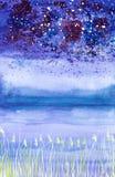 Illustration abstraite d'aquarelle d'un paysage de nuit avec la neige en baisse sur le champ et les buissons photos libres de droits