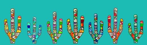 Illustration abstraite de cactus de mosaïque sur le fond bleu cyan Images libres de droits