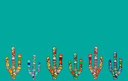 Illustration abstraite de cactus de mosaïque sur le fond cyan Photos libres de droits