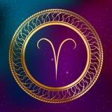 Illustration abstraite de cadre de cercle de Bélier de signe de zodiaque d'horoscope d'or de concept d'astrologie de fond Image stock