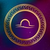 Illustration abstraite de cadre de cercle de Balance de signe de zodiaque d'horoscope d'or de concept d'astrologie de fond Photographie stock