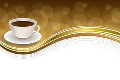 Illustration abstraite de cadre de ruban d'or de brun de tasse de café de fond Image libre de droits