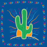 Illustration abstraite de grand cactus mexicain Photos libres de droits