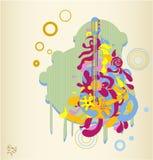 Illustration abstraite de guitare dans le rétro type Photos libres de droits