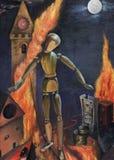 Illustration abstraite de pétrole de l'effondrement social Image stock