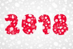 Illustration abstraite de vecteur de 2018 bonnes années Symbole de neige de vacances d'hiver pour la célébration Fond décoratif a Photographie stock libre de droits