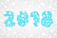Illustration abstraite de vecteur de 2018 bonnes années Symbole de neige de vacances d'hiver pour la célébration Fond décoratif d Image stock