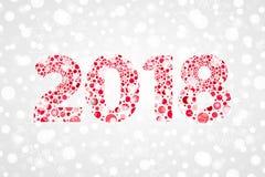 Illustration abstraite de vecteur de 2018 bulles de bonne année Symbole de neige de vacances d'hiver pour la célébration Fond déc Photographie stock libre de droits