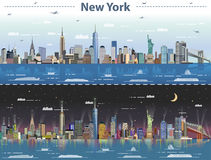 Illustration abstraite de vecteur de New York à jour et nuit illustration libre de droits