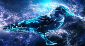 Illustration abstraite du rendu 3d d'un oiseau numérique moderne dans une illustration colorée de galaxie de nébuleuse photo libre de droits