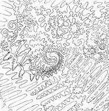 Illustration abstraite noire et blanche Revêtement cosmique graphique Images stock
