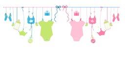 Illustration accrochante nouveau-née de symboles de bébé et de bébé de bébé garçon de bébé Image libre de droits