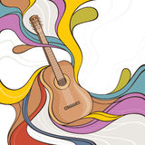 Illustration with acoustic guitar Stock Photo