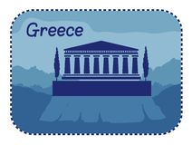 Illustration with acropolis of Athens in Greece Royalty Free Stock Image