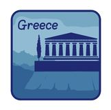 Illustration with acropolis of Athens in Greece Stock Photos