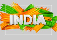 Acrylic brush stroke Tricolor banner with Indian flag for 15th August Happy Independence Day of India background. Illustration of acrylic brush stroke tricolor stock illustration