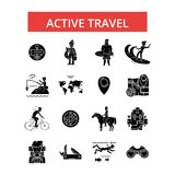 Illustration active de voyage, ligne mince icônes, signes plats linéaires, symboles de vecteur Images libres de droits