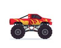 Illustration adaptée aux besoins du client colorée moderne de véhicule de camion de monstre illustration libre de droits