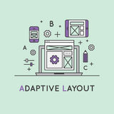 Illustration of Adaptive Layout Responsive User Interface Web Design. Vector Icon Style Illustration of Adaptive Layout Responsive User Interface Web Design Stock Photo