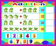 Additional game frog cartoon, math educational game for children. Illustration of Additional game frog cartoon, math educational game for children vector illustration