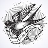 Illustration admirablement détaillée de cru avec l'oiseau d'hirondelle de vol Calibre graphique Illustration de vecteur d'isoleme illustration de vecteur