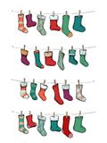 Advent calendar with stockings. Illustration of an Advent calendar with stockings Stock Photos
