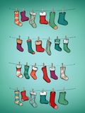 Advent calendar with stockings. Illustration of an Advent calendar with stockings Stock Image