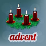 Illustration of advent wreath with realistic spruce and four red candles Royalty Free Stock Photo
