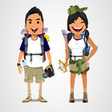 A  illustration of adventure tourism - boy and girl - vect Royalty Free Stock Photo