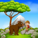 Adventurer and bear posing with mountain scene. Illustration of adventurer and bear posing with mountain scene Stock Photo