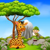 Adventurer and giraffe posing with mountain scene. Illustration of adventurer and giraffe posing with mountain scene Royalty Free Stock Image