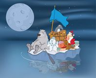 Illustration of  Adventures of Santa Claus and his friends Stock Photography