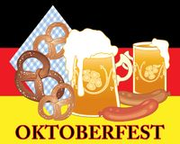 Oktoberfest fun with beer pretzels and susage on a german flag background. An illustration of an advert for oktoberfest festival with golden beer in fancy Royalty Free Stock Image
