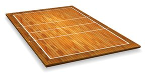 An illustration of an aerial view of a hardwood with perspective volleyball court. Vector EPS 10 vector illustration