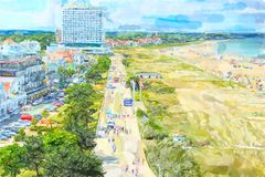 Aerial view over Baltic sea town Warnemunde with its houses promenade and beach. Illustration of Aerial view over Baltic sea town Warnemunde with its houses vector illustration