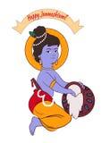 Illustration, affiche ou bannière créative de bande dessinée pour le festival indien de la célébration de janmashtami Photographie stock