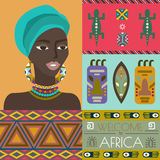 Illustration of Africa with different african symbols.. African woman portrait. Elements can be used separately or as a design concept. Vector Illustration Royalty Free Stock Photos