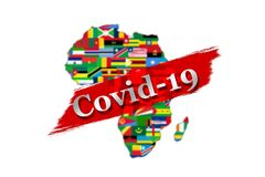 Illustration of Africa map behind white Covid-19 inscription on a red paint smear