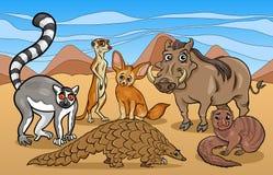 Illustration africaine de bande dessinée d'animaux de mammifères Images libres de droits