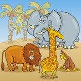 Illustration africaine mignonne de bande dessinée d'animaux Photos libres de droits