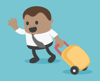 Illustration african businessman Prepare a bag for travel eps.10 Stock Photo