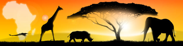 Illustration african landscape. Illustration of an african landscape of fantasy, with a silhouette of a tree, elephant, rhino, giraffe and stork Stock Photo