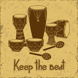 Illustration of African percussion drum set Stock Photos