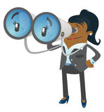 Businesswoman Buddy with his huge binoculars. Illustration of an afro american Businesswoman Buddy with a large set of binoculars checking out her competition Royalty Free Stock Images
