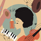 Illustration of an afro american jazz singer Stock Photos
