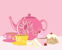 Pink afternoon tea with decorated crockery and delicious cakes royalty free illustration