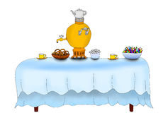 Illustration of afternoon tea table. Isolated Stock Photo