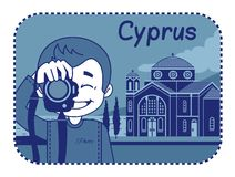 Illustration with Agios Georgios church in Cyprus Royalty Free Stock Photos