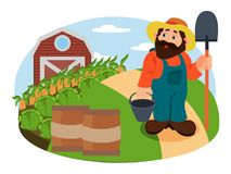 Illustration of Agrarian in the hat. Healthy advertising illustration of Agrarian in the hat, looking on the harvest of carrot and corn, the farm is on the Royalty Free Stock Photography