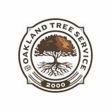 Illustration agricole d'insigne de logo de vintage de chêne Image stock